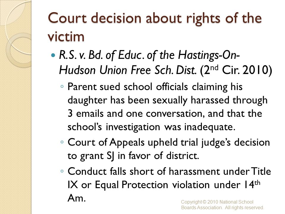 Court decision about rights of the victim R.S. v.