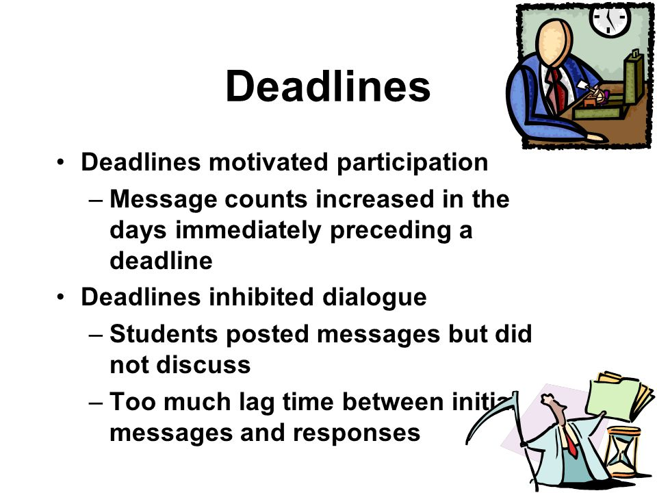 Deadlines Deadlines motivated participation –Message counts increased in the days immediately preceding a deadline Deadlines inhibited dialogue –Students posted messages but did not discuss –Too much lag time between initial messages and responses