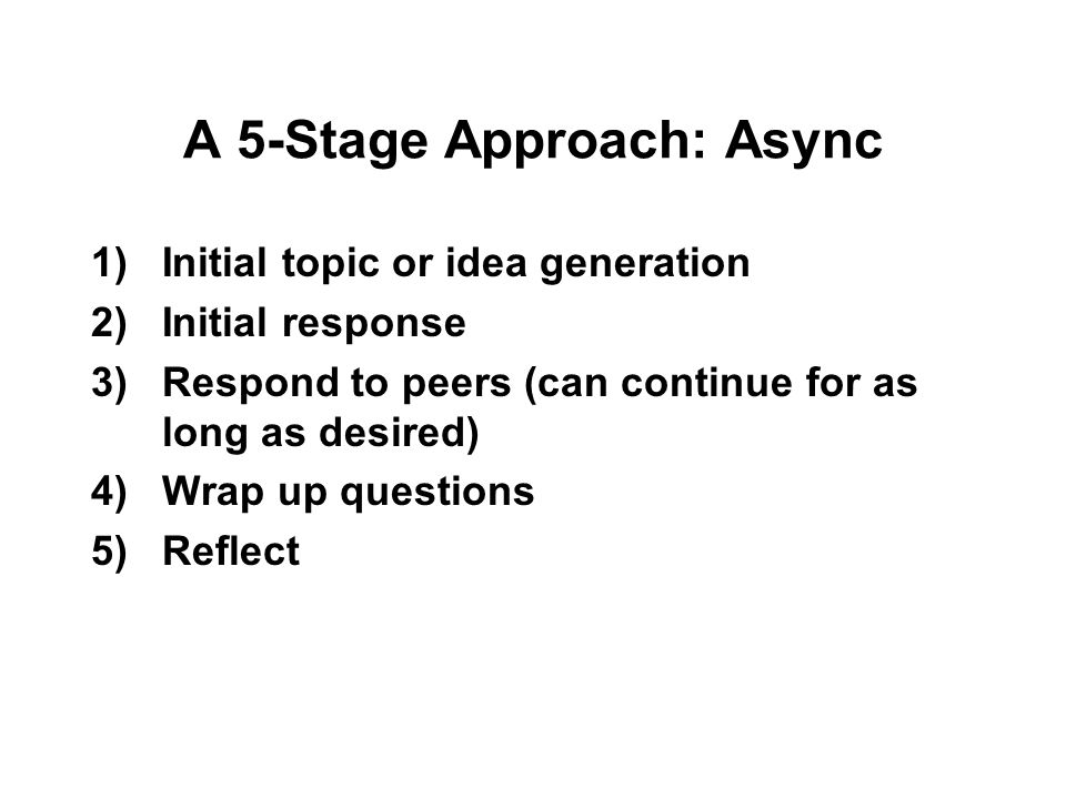 A 5-Stage Approach: Async 1)Initial topic or idea generation 2)Initial response 3)Respond to peers (can continue for as long as desired) 4)Wrap up questions 5)Reflect