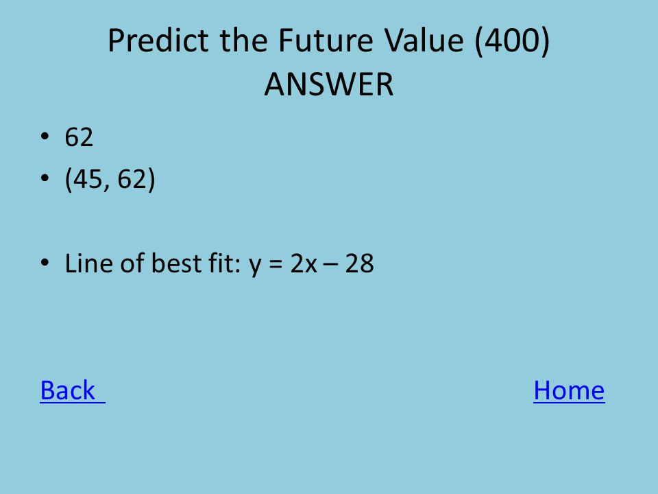 Predict the Future Value (400) ANSWER 62 (45, 62) Line of best fit: y = 2x – 28 BackHome