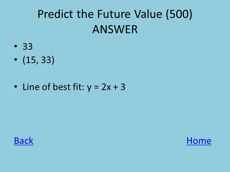 Predict the Future Value (500) ANSWER 33 (15, 33) Line of best fit: y = 2x + 3 BackHome