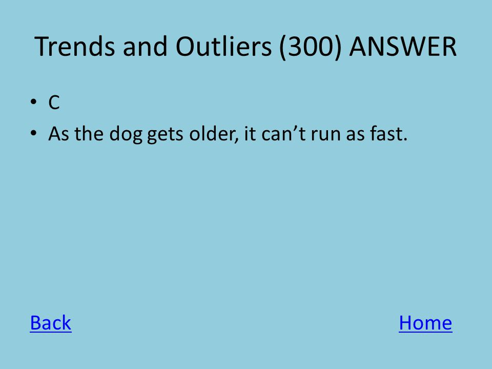 Trends and Outliers (300) ANSWER C As the dog gets older, it can't run as fast. BackHome