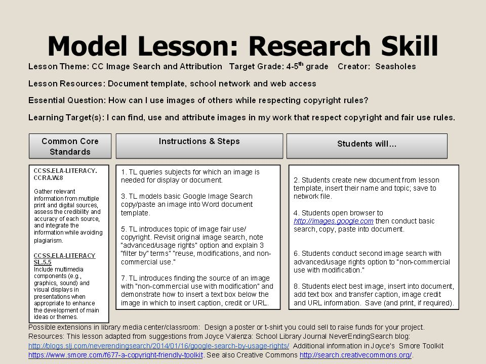 Model Lesson: Research Skill