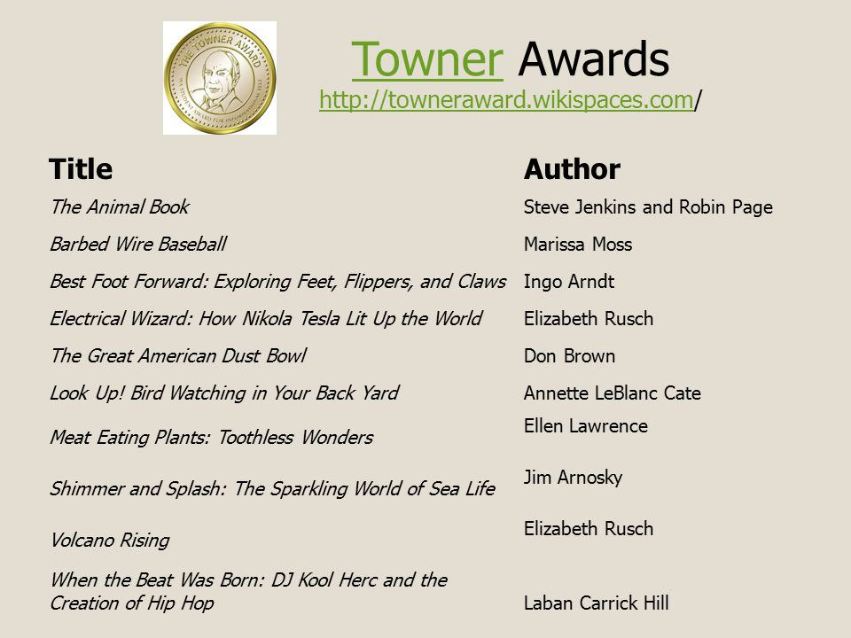 TownerTowner Awards http://towneraward.wikispaces.com/ http://towneraward.wikispaces.com TitleAuthor The Animal BookSteve Jenkins and Robin Page Barbed Wire BaseballMarissa Moss Best Foot Forward: Exploring Feet, Flippers, and ClawsIngo Arndt Electrical Wizard: How Nikola Tesla Lit Up the WorldElizabeth Rusch The Great American Dust BowlDon Brown Look Up.