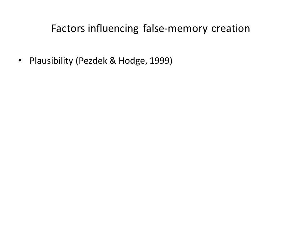 Factors influencing false-memory creation Plausibility (Pezdek & Hodge, 1999)