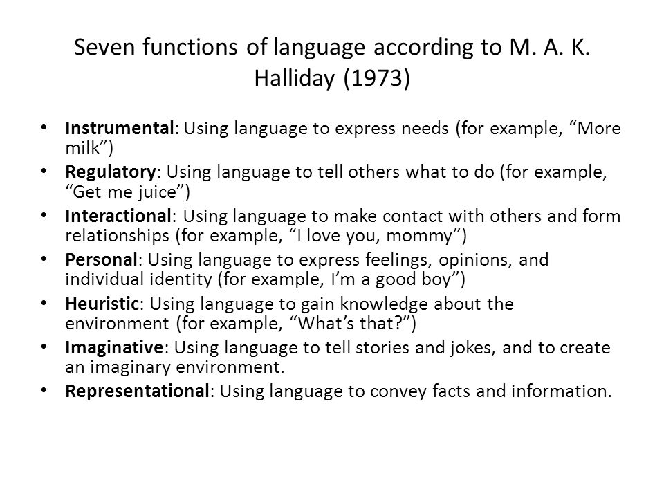 Seven functions of language according to M. A. K.