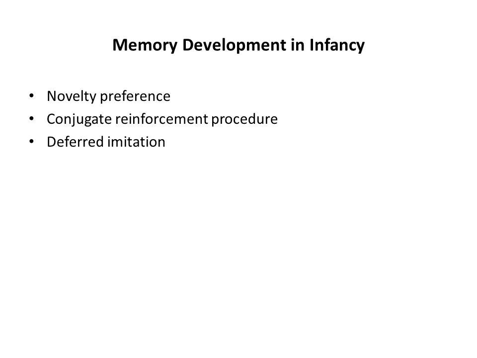 Memory Development in Infancy Novelty preference Conjugate reinforcement procedure Deferred imitation