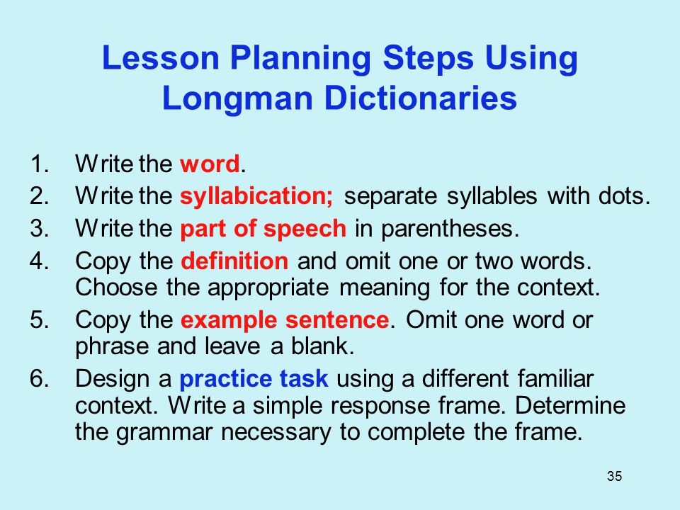 35 Lesson Planning Steps Using Longman Dictionaries 1.Write the word.