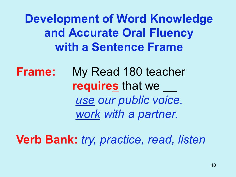 40 Frame: My Read 180 teacher requires that we __ use our public voice.