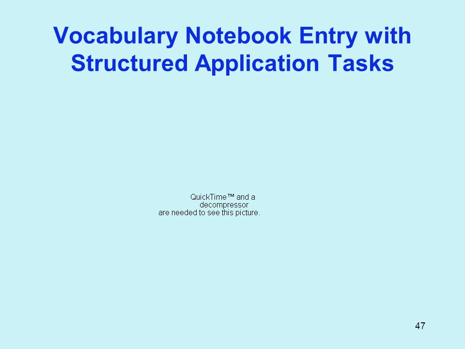 47 Vocabulary Notebook Entry with Structured Application Tasks