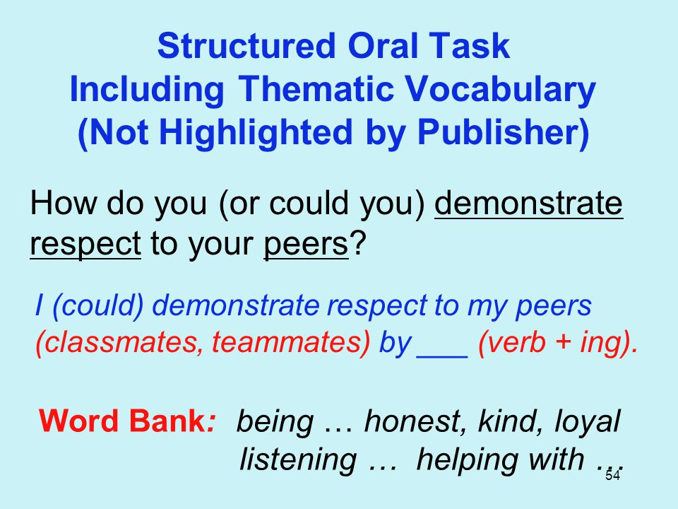 54 Structured Oral Task Including Thematic Vocabulary (Not Highlighted by Publisher) How do you (or could you) demonstrate respect to your peers.