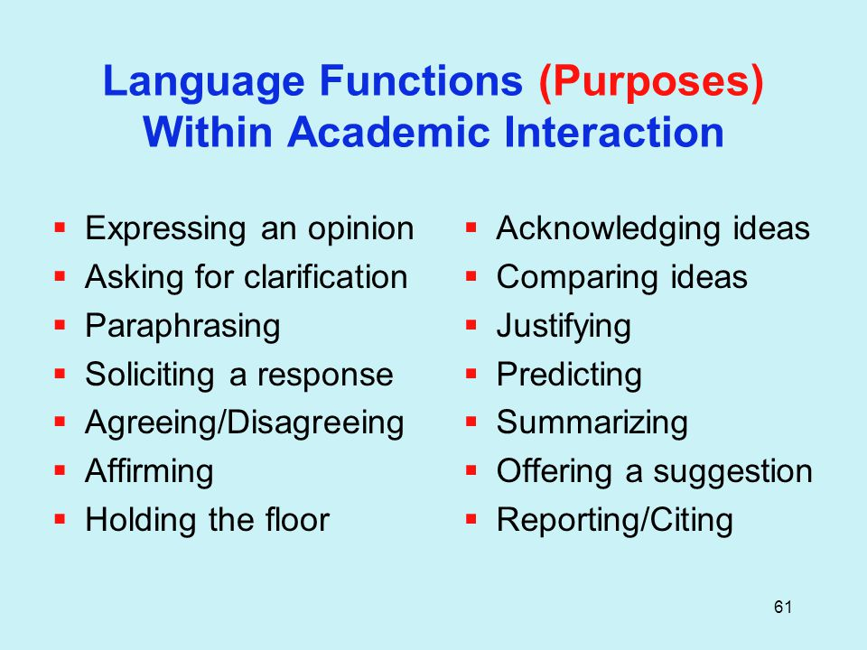 61 Language Functions (Purposes) Within Academic Interaction  Expressing an opinion  Asking for clarification  Paraphrasing  Soliciting a response  Agreeing/Disagreeing  Affirming  Holding the floor  Acknowledging ideas  Comparing ideas  Justifying  Predicting  Summarizing  Offering a suggestion  Reporting/Citing