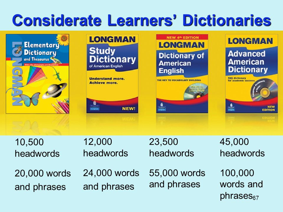 67 Considerate Learners' Dictionaries 45,000 headwords 100,000 words and phrases 23,500 headwords 55,000 words and phrases 12,000 headwords 24,000 words and phrases 10,500 headwords 20,000 words and phrases