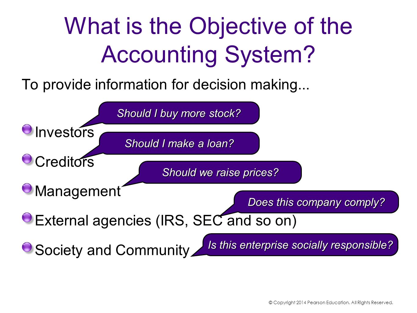 To provide information for decision making... Investors Creditors Management External agencies (IRS, SEC and so on) Society and Community Should I buy