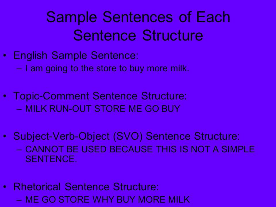 Sample Sentences of Each Sentence Structure English Sample Sentence: –I am going to the store to buy more milk.