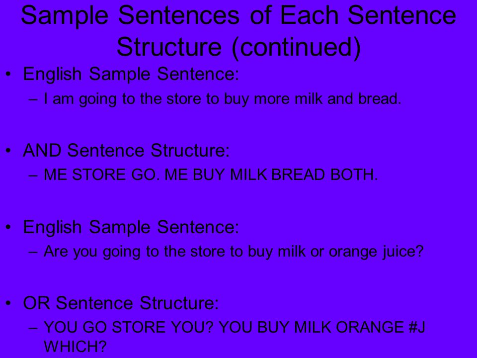 Sample Sentences of Each Sentence Structure (continued) English Sample Sentence: –I am going to the store to buy more milk and bread. AND Sentence Str