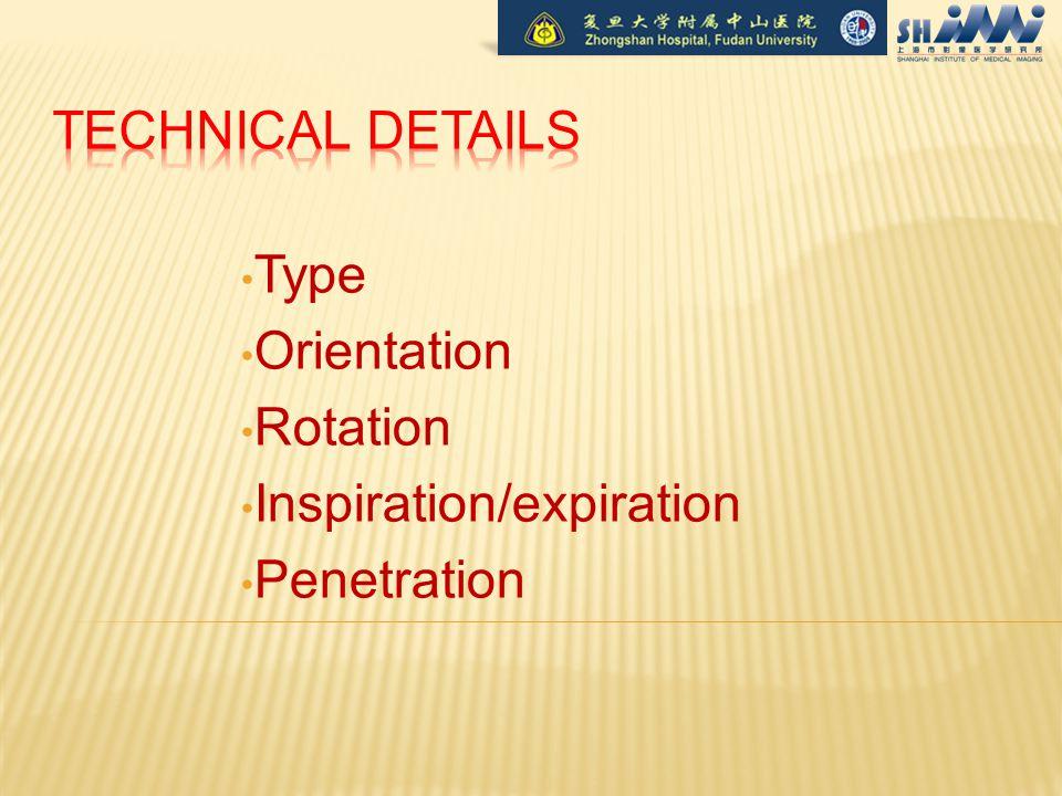 Type Orientation Rotation Inspiration/expiration Penetration