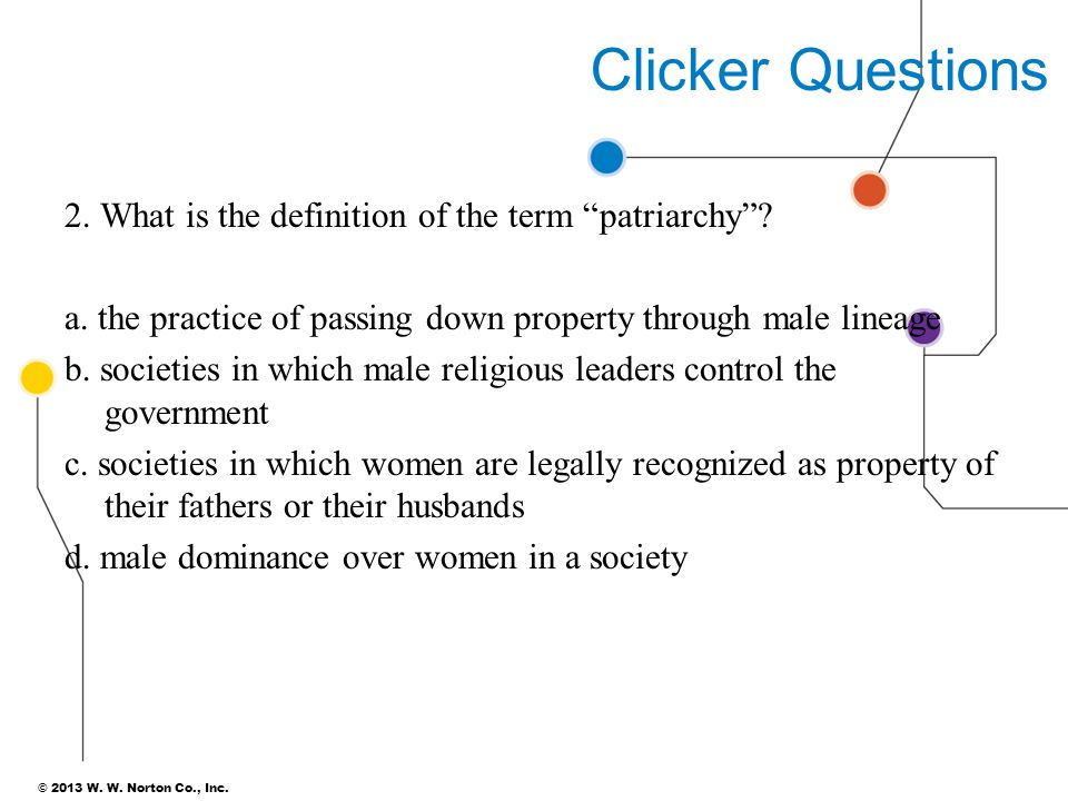 """© 2013 W. W. Norton Co., Inc. Clicker Questions 2. What is the definition of the term """"patriarchy""""? a. the practice of passing down property through m"""