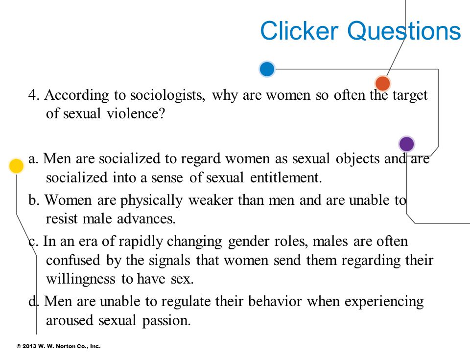 © 2013 W. W. Norton Co., Inc. Clicker Questions 4. According to sociologists, why are women so often the target of sexual violence? a. Men are sociali