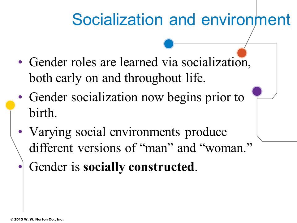 © 2013 W. W. Norton Co., Inc. Socialization and environment Gender roles are learned via socialization, both early on and throughout life. Gender soci