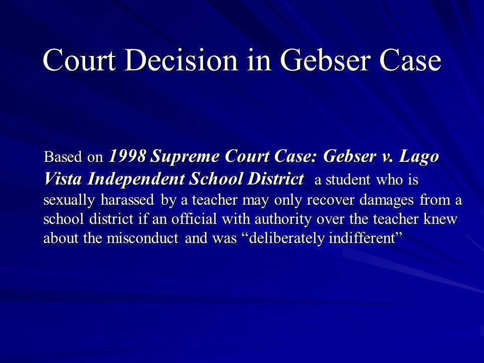 Court Decision in Gebser Case Based on 1998 Supreme Court Case: Gebser v.