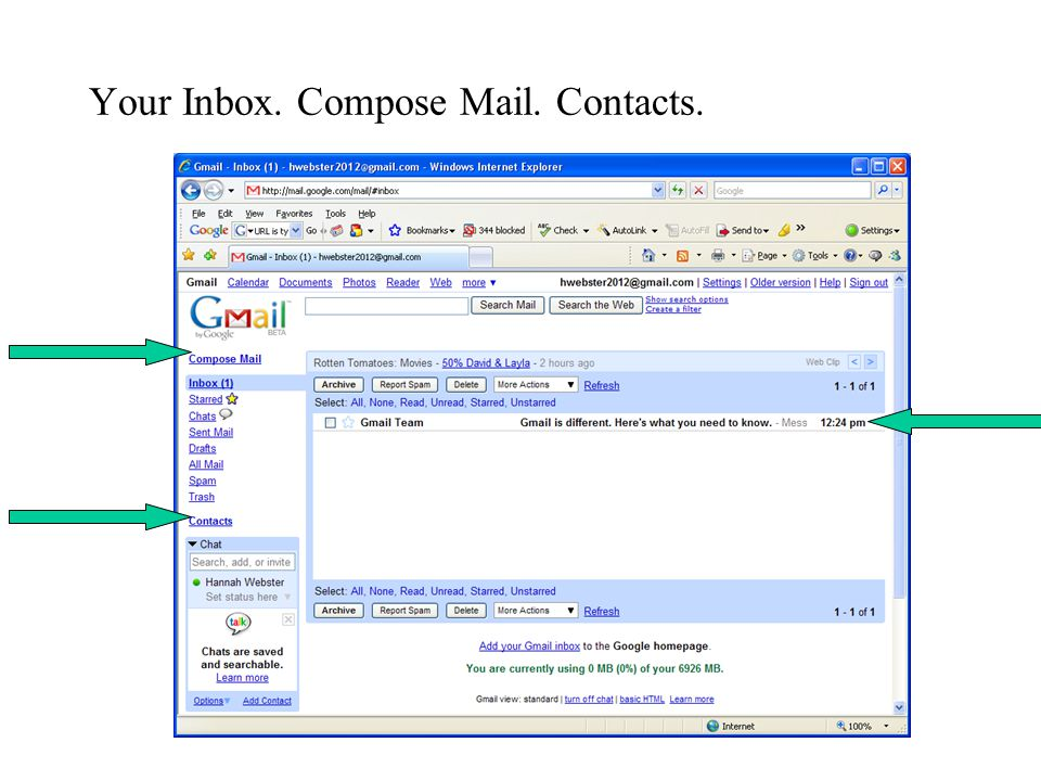 Your Inbox. Compose Mail. Contacts.