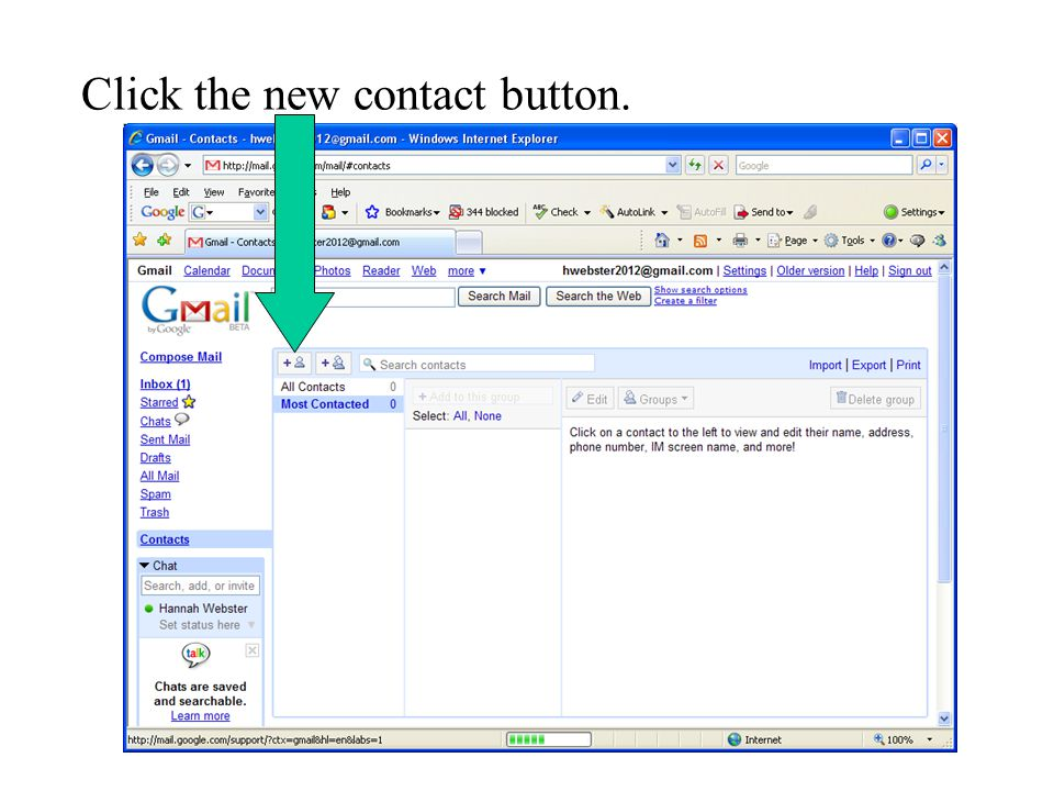 Click the new contact button.