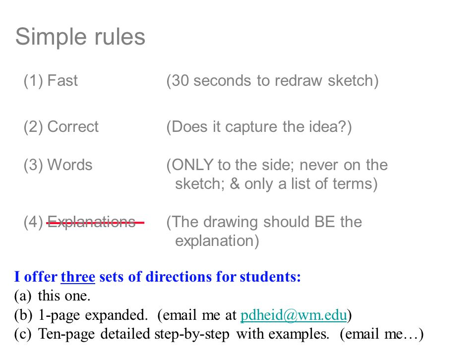 Simple rules I offer three sets of directions for students: (a)this one.