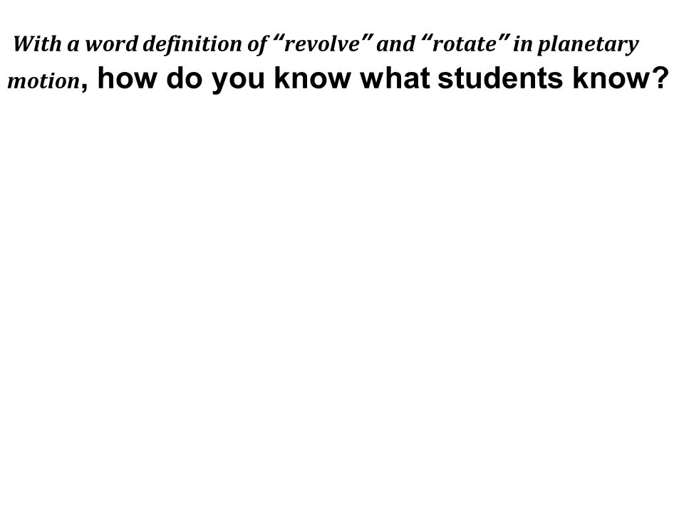 With a word definition of revolve and rotate in planetary motion, how do you know what students know