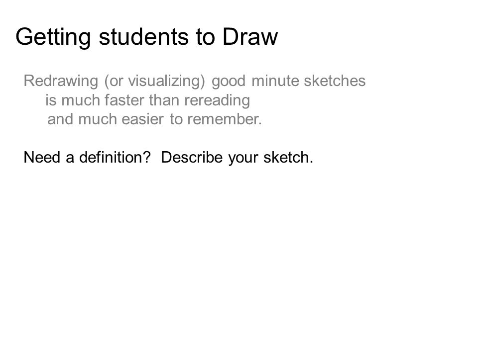 Getting students to Draw Redrawing (or visualizing) good minute sketches is much faster than rereading and much easier to remember.