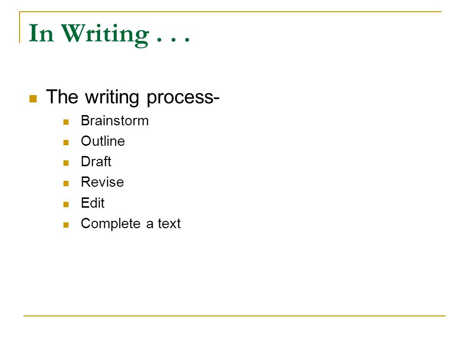 In Writing... The writing process- Brainstorm Outline Draft Revise Edit Complete a text