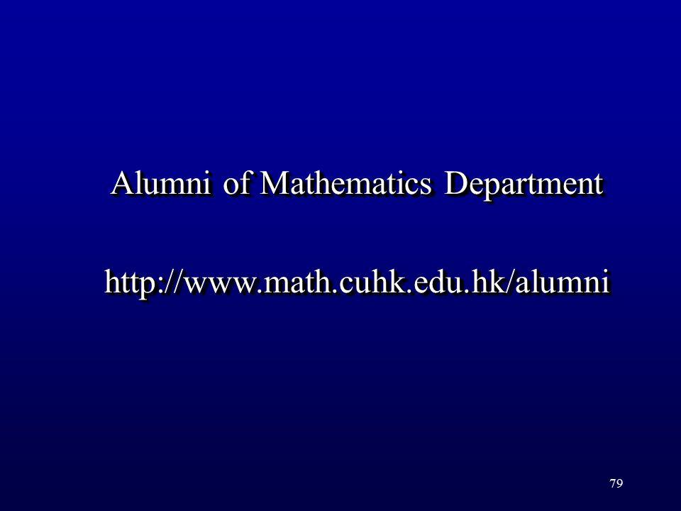 79 Alumni of Mathematics Department http://www.math.cuhk.edu.hk/alumni http://www.math.cuhk.edu.hk/alumni