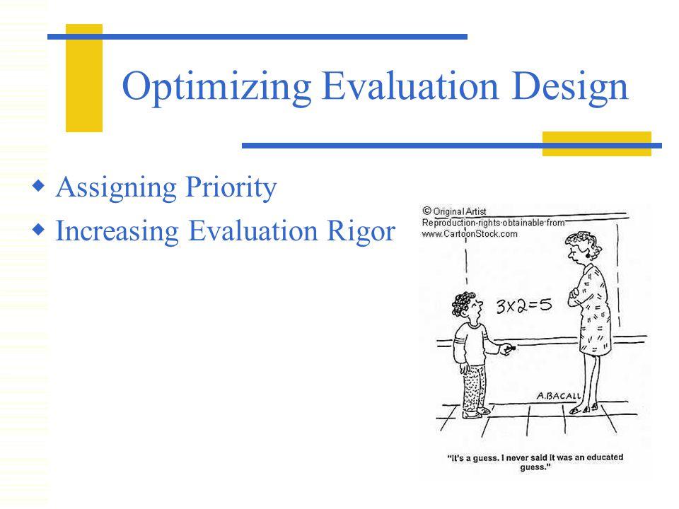 Optimizing Evaluation Design  Assigning Priority  Increasing Evaluation Rigor