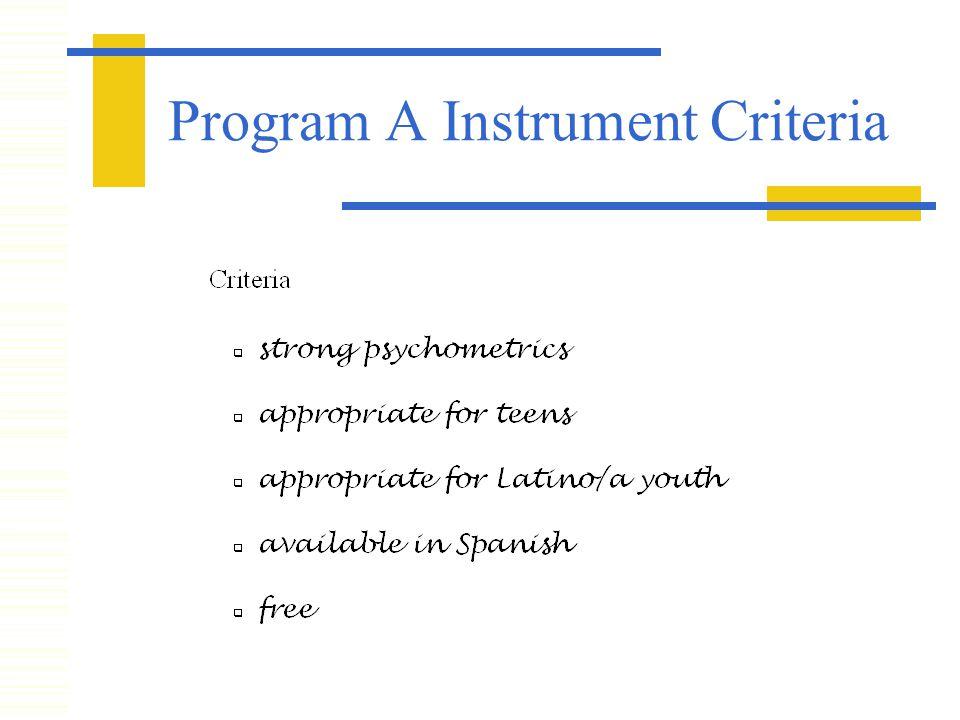 Program A Instrument Criteria
