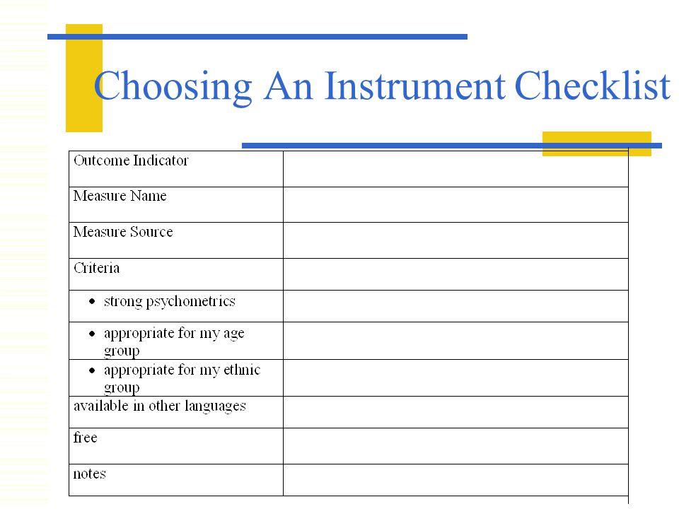 Choosing An Instrument Checklist