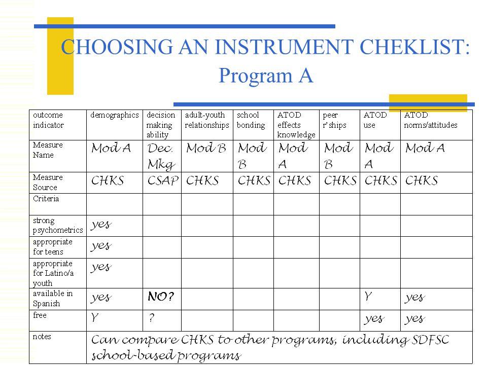 CHOOSING AN INSTRUMENT CHEKLIST: Program A
