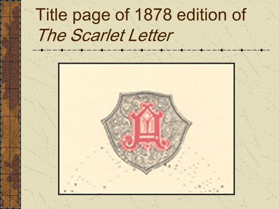 Title page of 1878 edition of The Scarlet Letter