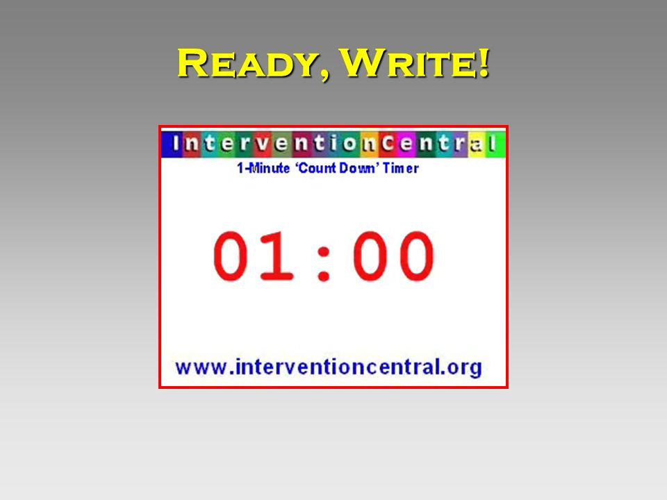 Ready, Write!