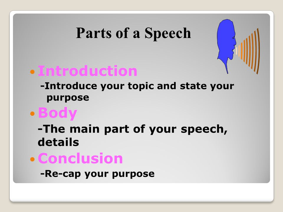 Introduction -Introduce your topic and state your purpose Body -The main part of your speech, details Conclusion -Re-cap your purpose Parts of a Speech