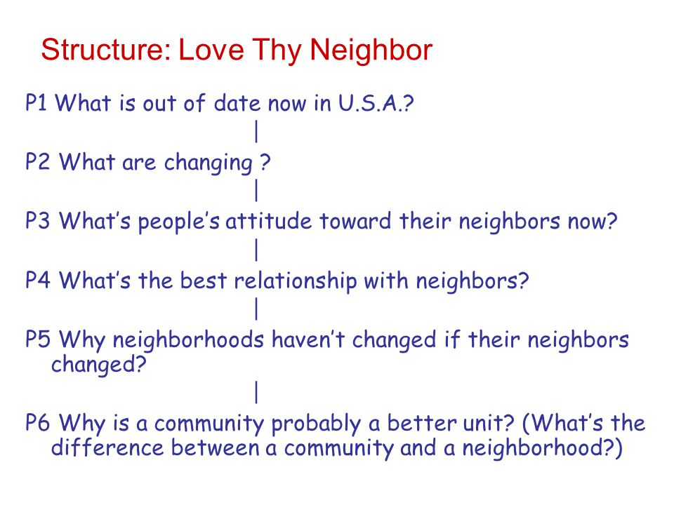 Structure: Love Thy Neighbor P1 What is out of date now in U.S.A..