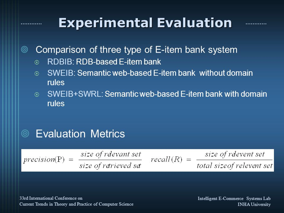 Intelligent E-Commerce Systems Lab INHA University 33rd International Conference on Current Trends in Theory and Practice of Computer Science Experimental Evaluation  Comparison of three type of E-item bank system  RDBIB: RDB-based E-item bank  SWEIB: Semantic web-based E-item bank without domain rules  SWEIB+SWRL: Semantic web-based E-item bank with domain rules  Evaluation Metrics