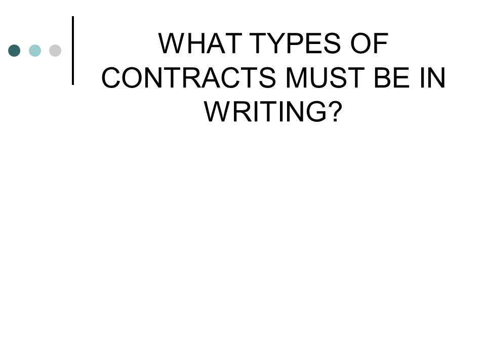 WHAT TYPES OF CONTRACTS MUST BE IN WRITING