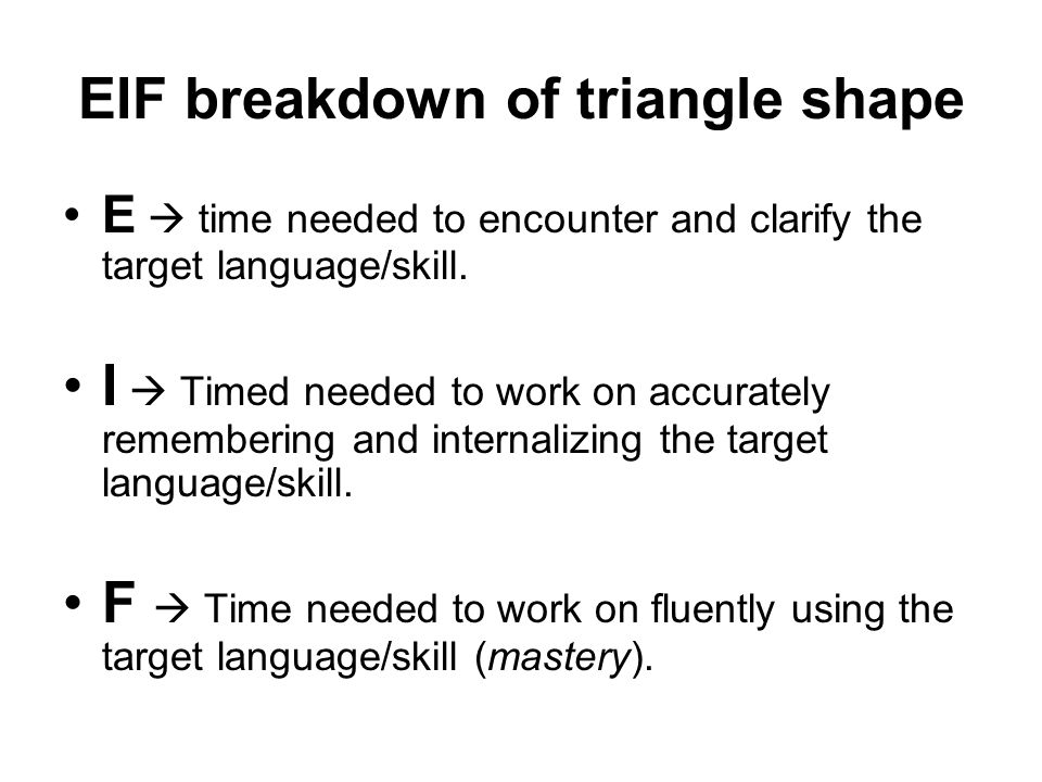 EIF breakdown of triangle shape E  time needed to encounter and clarify the target language/skill.