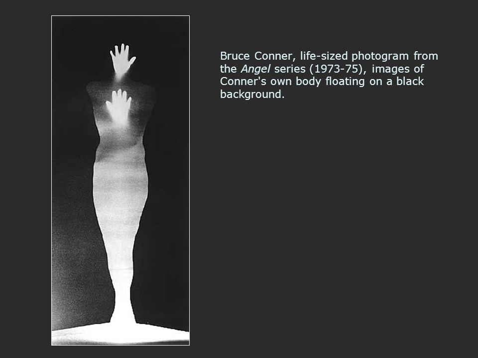Bruce Conner, life-sized photogram from the Angel series (1973-75), images of Conner's own body floating on a black background.