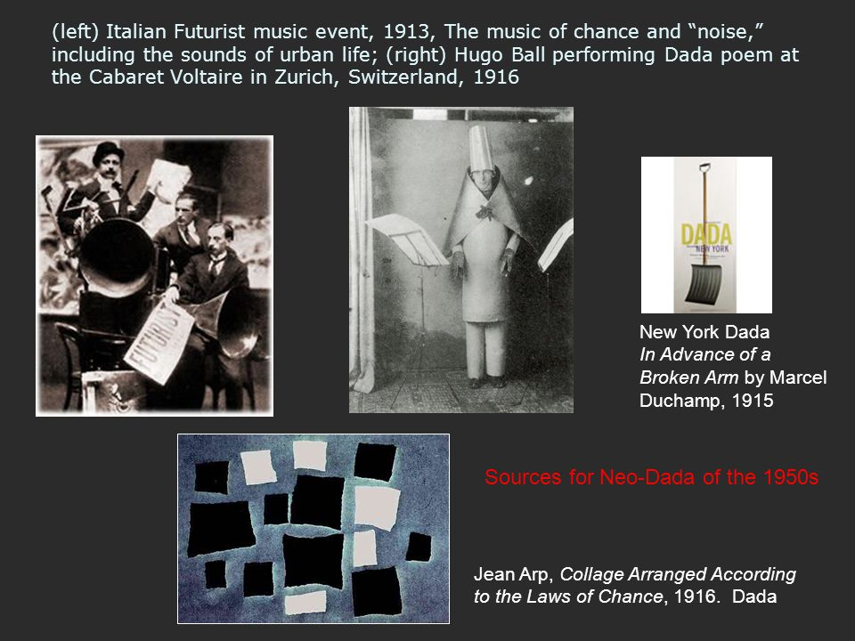 """(left) Italian Futurist music event, 1913, The music of chance and """"noise,"""" including the sounds of urban life; (right) Hugo Ball performing Dada poem"""