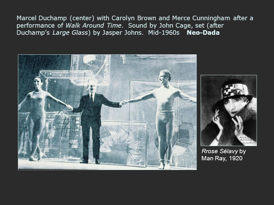 Marcel Duchamp (center) with Carolyn Brown and Merce Cunningham after a performance of Walk Around Time. Sound by John Cage, set (after Duchamp's Larg