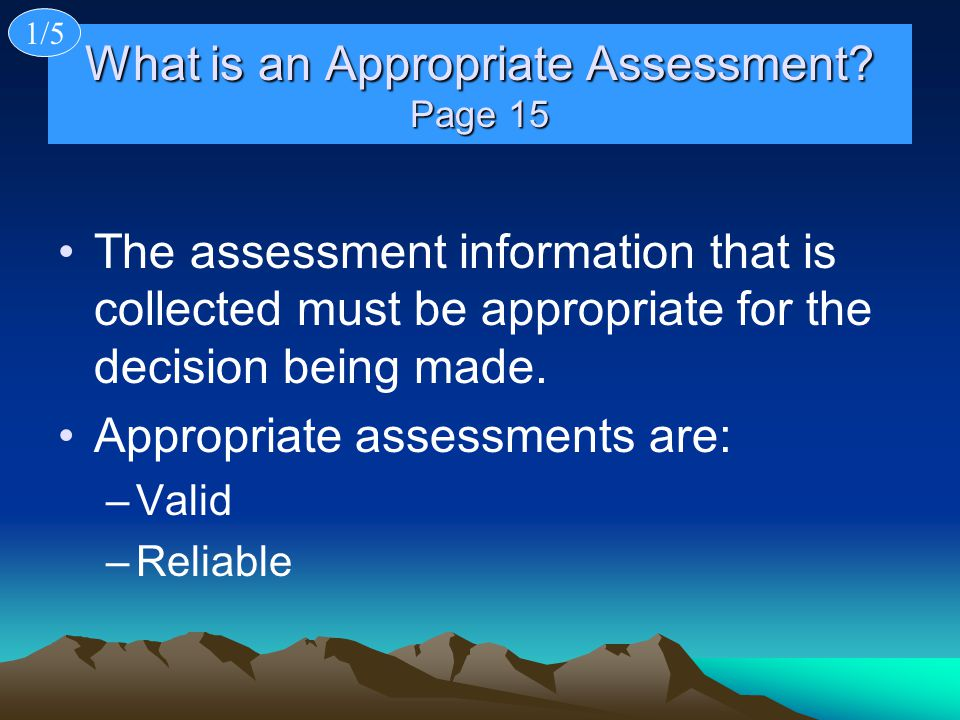 What is an Appropriate Assessment.