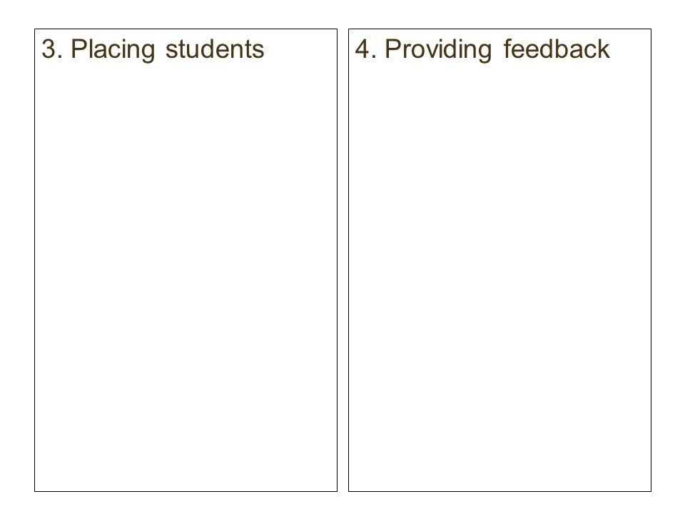 3. Placing students4. Providing feedback