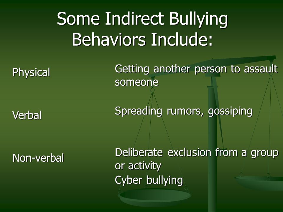 Some Indirect Bullying Behaviors Include: PhysicalVerbalNon-verbal Getting another person to assault someone Spreading rumors, gossiping Deliberate exclusion from a group or activity Cyber bullying