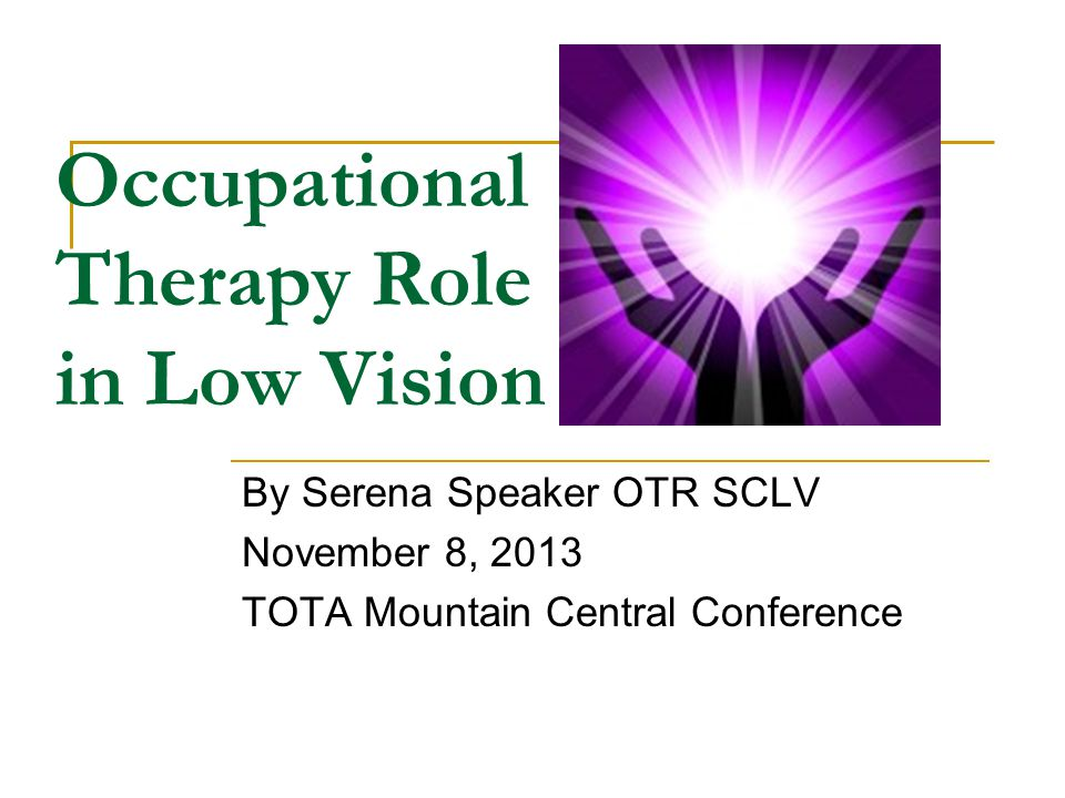 Occupational Therapy Role in Low Vision By Serena Speaker OTR SCLV November 8, 2013 TOTA Mountain Central Conference